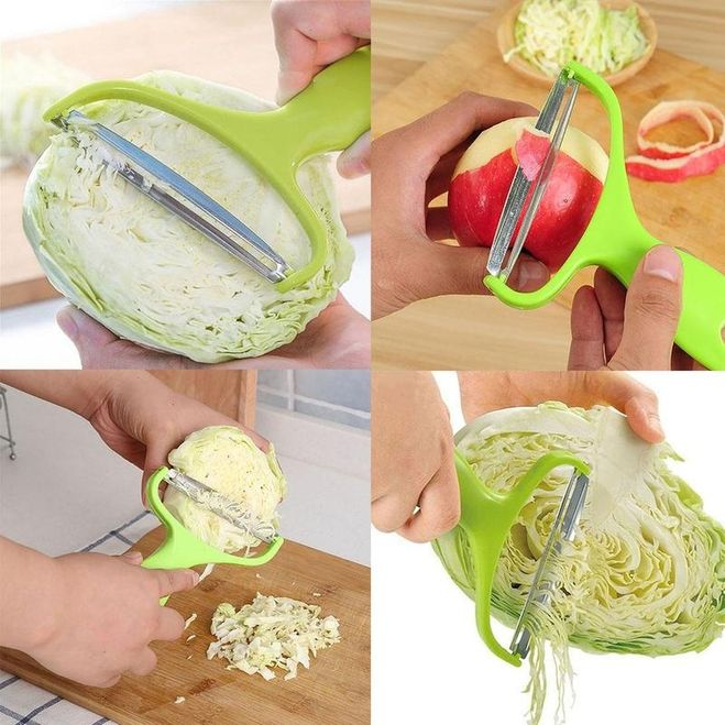 Разрежьте вилок пополам, так будет удобнее скользить по нему овощечисткой, направление среза задает длину соломки