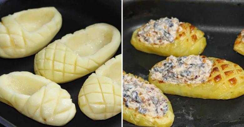 Фаршированные картофельные лапти